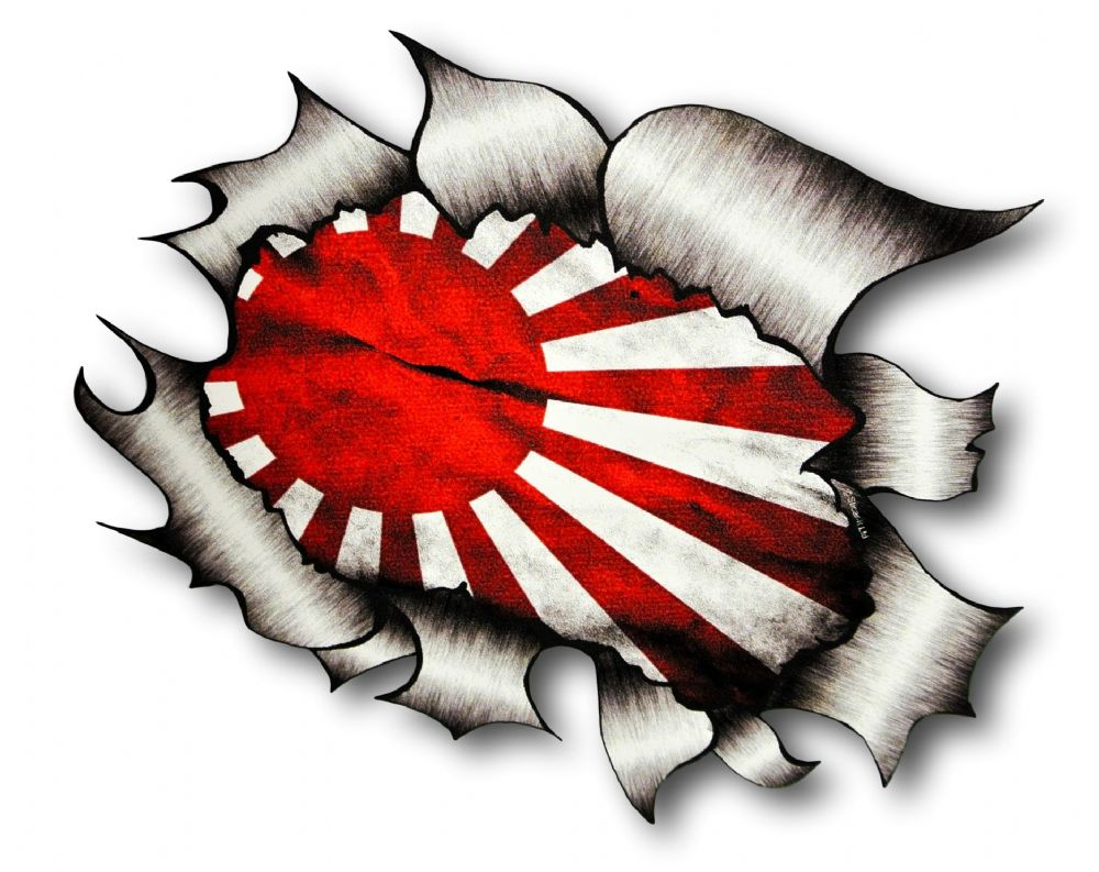 Ripped Torn Metal Design With JDM Drift Style Rising Sun